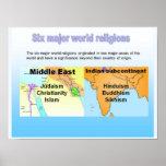 Educación, seis religiones importantes del mundo posters