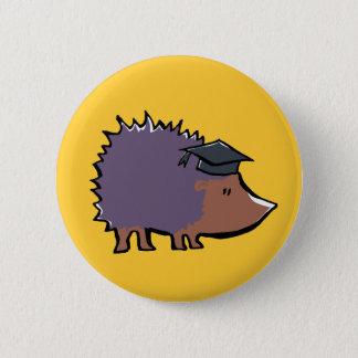 educated hedgehog pinback button