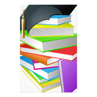 Education book pile graduation hat concept customized stationery