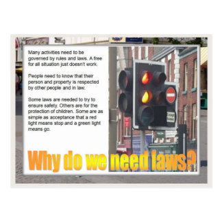Education, Citizenship, why do we need laws? Postcard