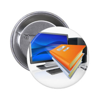 Education e-learning computer book concept pinback buttons