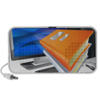 Education e-learning computer book concept travel speaker