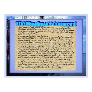 Education, History, Mayflower contract Postcard