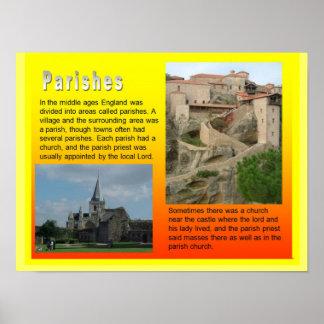 Education, History,  Medieval  Parishes Print
