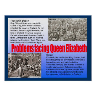 Education History Problems facing Elizabeth I Posters