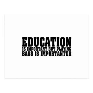 Education Is Important Bass Player Black Text Postcard