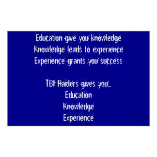 Education, Knowledge, Experience Poster