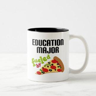 Education Major Gift (Pizza) Two-Tone Coffee Mug