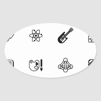 Education or quiz subject icons oval sticker