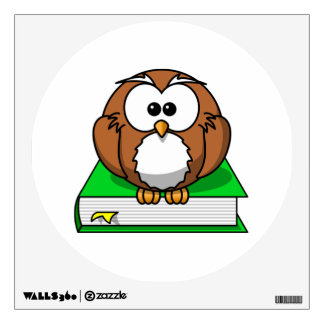 Education Owl on Green Book Wall Decal
