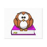Education Owl on Purple Book Canvas Print