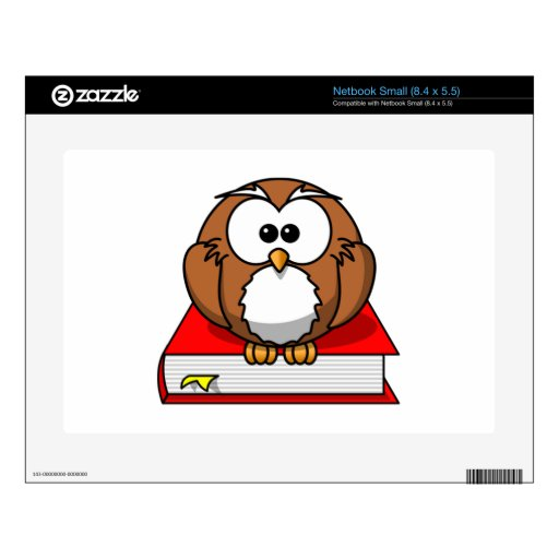 Education Owl on Red Book Small Netbook Skin