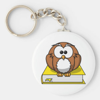 Education Owl on Yellow Book Basic Round Button Keychain
