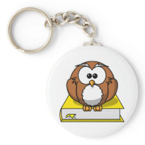 Education Owl on Yellow Book Keychain