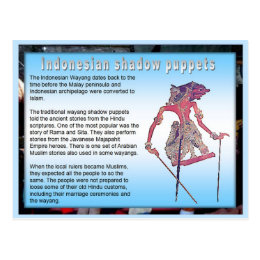 Education,Performing Arts, Indonesian shadow Postcard