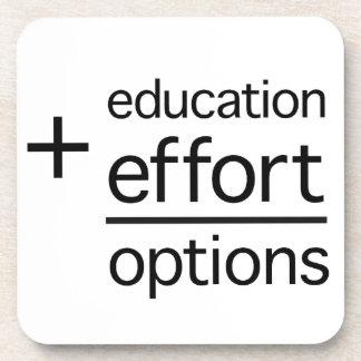 Education Plus Effort Equals Options Beverage Coasters