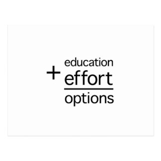 Education Plus Effort Equals Options Postcard