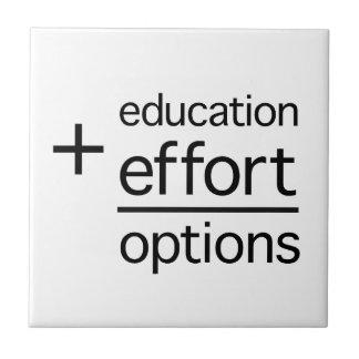 Education Plus Effort Equals Options Tiles