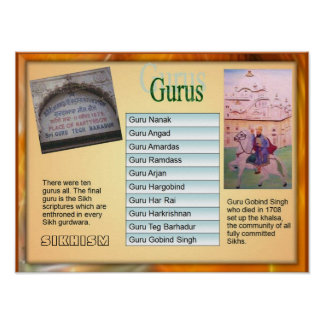 "Education, Religion, Sikhism ""Ten Gurus"" Poster"