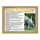 Education, Science, Classifying Dinosaurs Post Cards