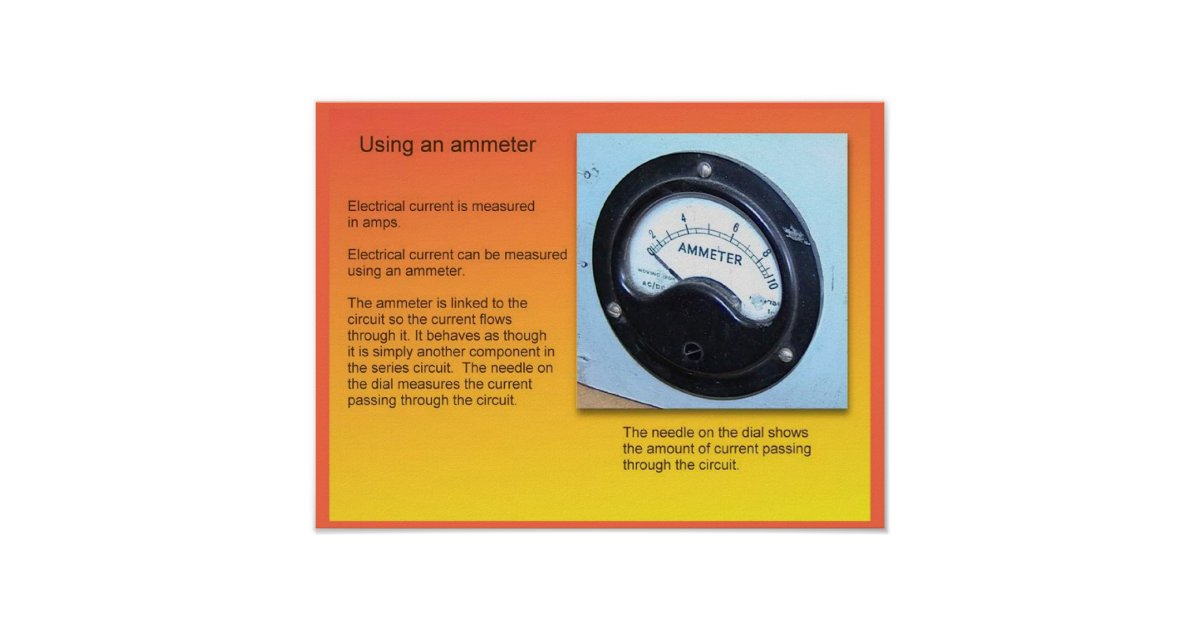 Ammeter For Science : Education science electricity ammeter poster zazzle