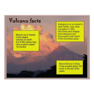 Education, Science, Geography, Volcano facts Poster