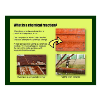 Education, Science, What is a chemical reaction? Postcard