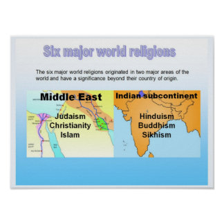 Education, Six Major World Religions Poster