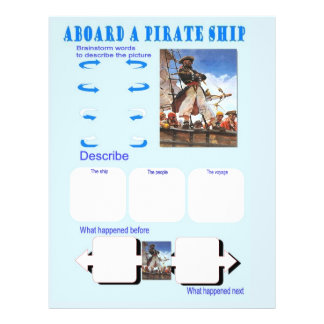 "Education, Story Starters, Aboard a pirate ship 8.5"" X 11"" Flyer"