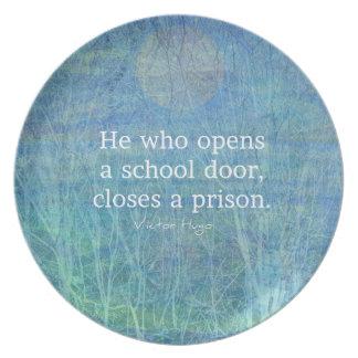 Education teacher teaching quote Victor Hugo Dinner Plate