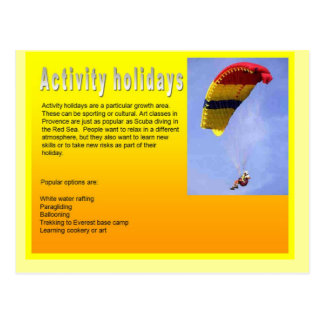 Education, Travel,Tourism, Activity Holidays Postcard