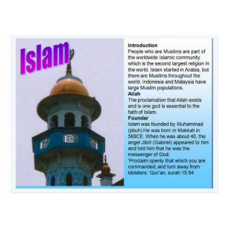 Education, World Religions, Islam fact file Postcard