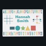 "Educational Learning Placemat<br><div class=""desc"">Fun and colorful graphic design is perfect for teaching the alphabet,  counting numbers,  shapes,  up,  down,  left,  right,  your child&#39;s name and playing a game of tic tac toe.  Personalize with your own name.  Great gift for students,  son,  daughter,  preschool,  kindergarten,  grandchildren,  family and friends.</div>"