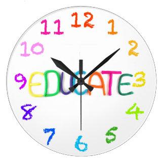 Eduque en arcilla con el reloj de pared de los núm