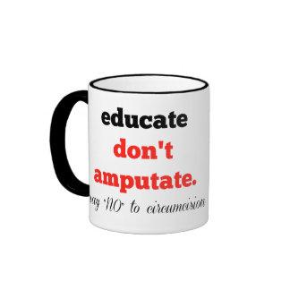 Eduque, no ampute taza de dos colores