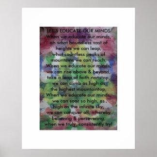 EDUQUEMOS NUESTRAS MENTES - un poema inspirado Posters
