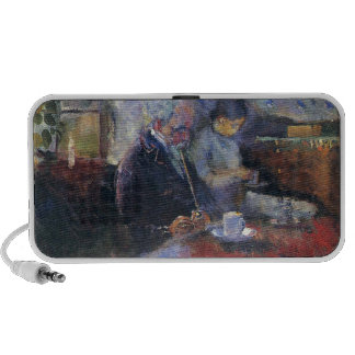 Edvard Munch - At the Coffee Table Painting iPhone Speakers