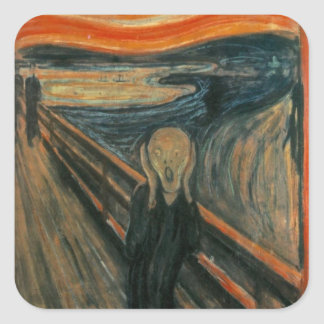 Edvard Munch - el grito Calcomanias Cuadradas