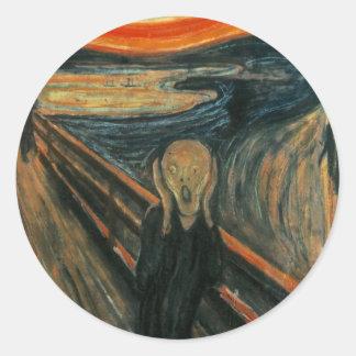 Edvard Munch - el grito Pegatina Redonda