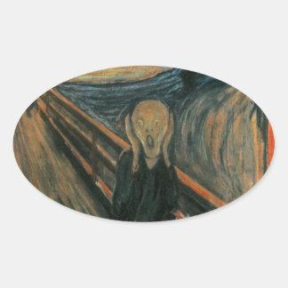 Edvard Munch - el grito Calcomanía De Óval Personalizadas