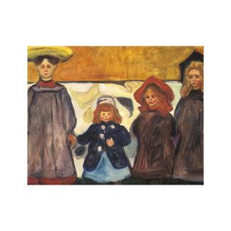 Edvard Munch - Four Girls in Asgardstrand Canvas Print