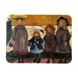 Edvard Munch - Four Girls in Asgardstrand Magnet