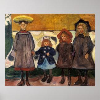 Edvard Munch - Four Girls in Asgardstrand Poster