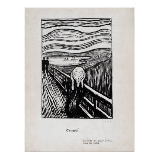 Edvard Munch Illustration The Scream Poster