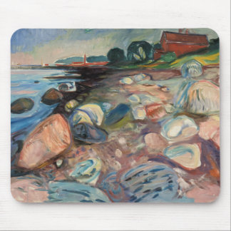 Edvard Munch - Shore with Red House Mouse Pad
