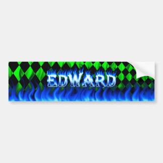 Edward blue fire and flames bumper sticker design. car bumper sticker