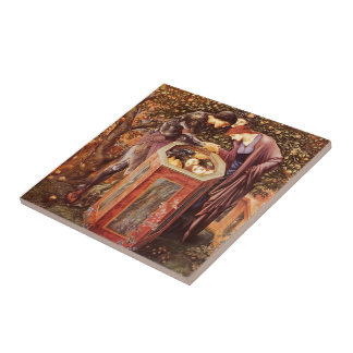 Edward Burne-Jones la cabeza funesta Azulejo Cuadrado Pequeño