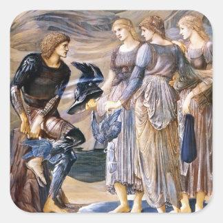 Edward Burne-Jones Perseus y las ninfas de mar Pegatina Cuadrada