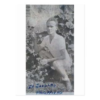 Edward Earl Johnson Holding a skull in Manila Phil Postcard