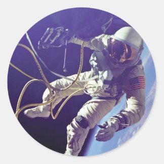 Edward H. White first American Space Walker NASA Round Stickers